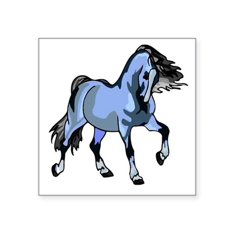"Lt Blue Horse Square Sticker 3"" x 3"""