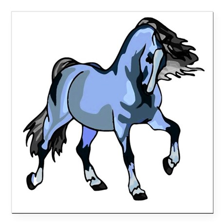 "Lt Blue Horse Square Car Magnet 3"" x 3"""
