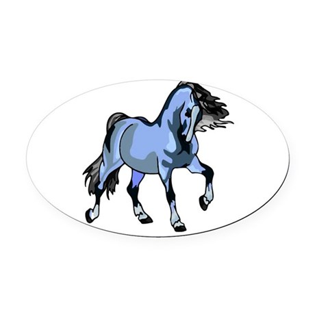 Lt Blue Horse Oval Car Magnet