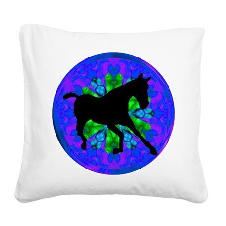 Kaleidoscope Horse Square Canvas Pillow