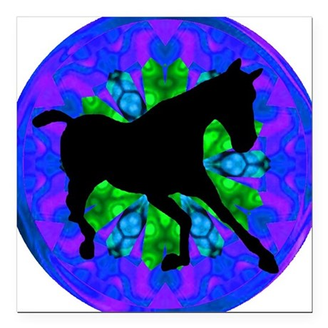 "Kaleidoscope Horse Square Car Magnet 3"" x 3"""