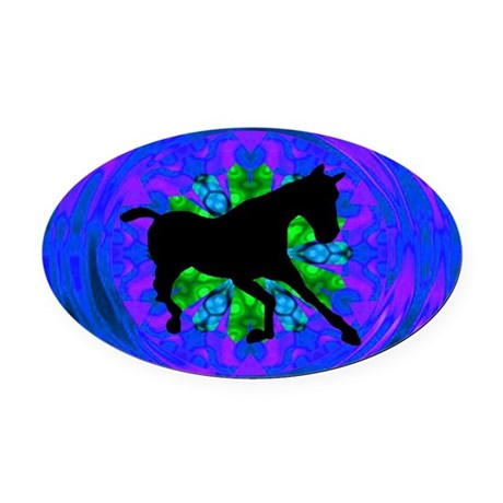 Kaleidoscope Horse Oval Car Magnet