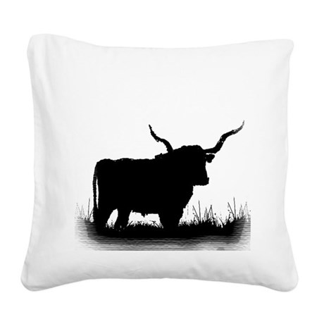 Longhorn Square Canvas Pillow
