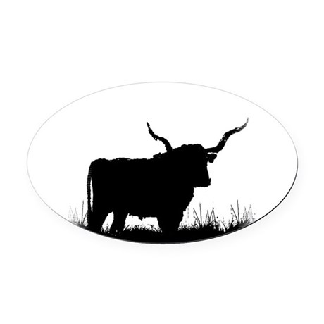 Longhorn Oval Car Magnet
