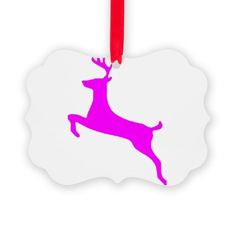 leaping deer Picture Ornament
