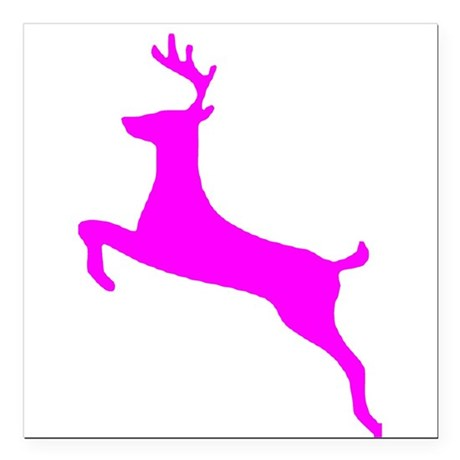 leaping deer Square Car Magnet 3&quot; x 3&quot;