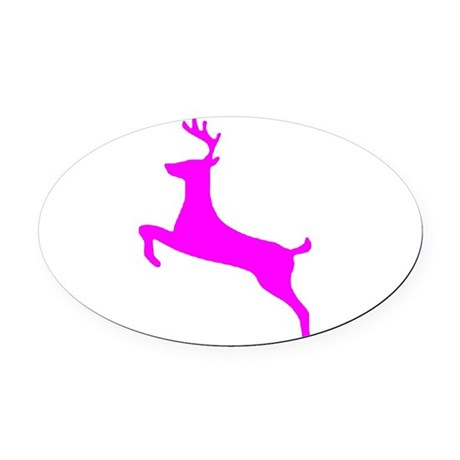 leaping deer Oval Car Magnet