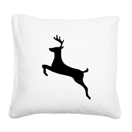 leaping deer Square Canvas Pillow