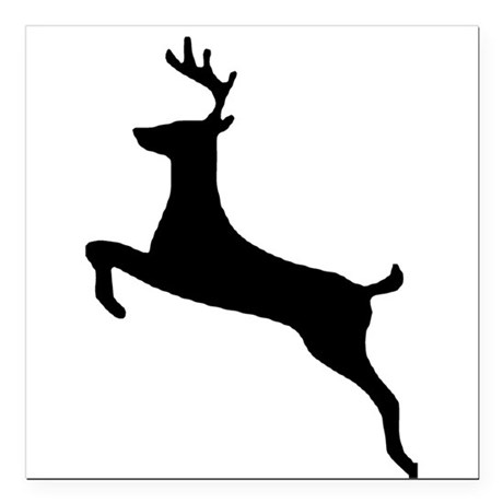"leaping deer Square Car Magnet 3"" x 3"""