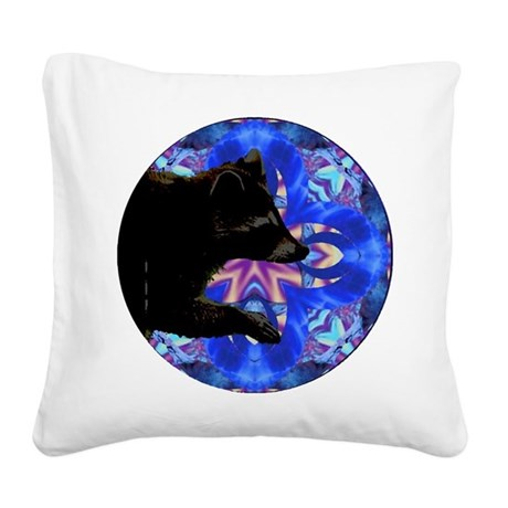Racoon Kaleidoscope Square Canvas Pillow