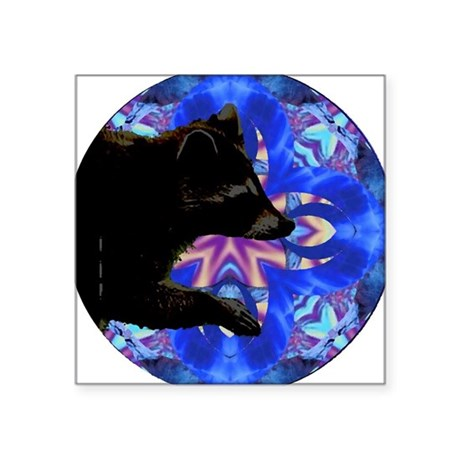 "Racoon Kaleidoscope Square Sticker 3"" x 3"""
