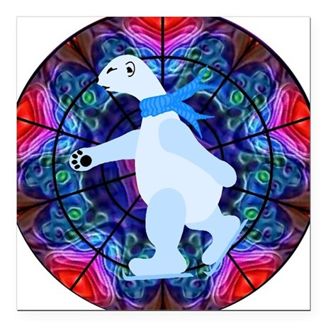 "bearpolar1a.png Square Car Magnet 3"" x 3"""