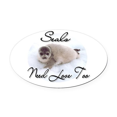seal3.png Oval Car Magnet