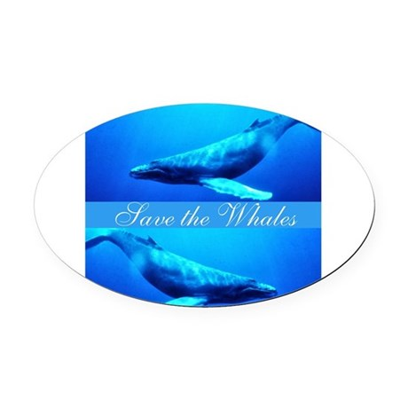 whales4.png Oval Car Magnet