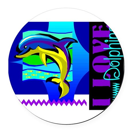 dolphins.png Round Car Magnet
