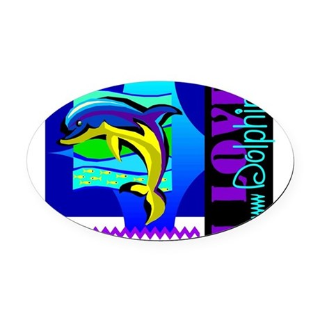 dolphins.png Oval Car Magnet