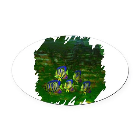 fish6a2.png Oval Car Magnet