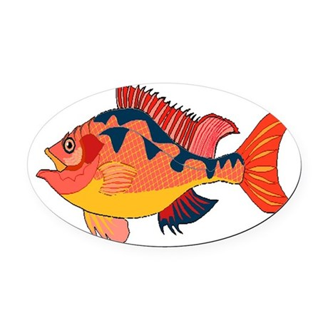 fish Oval Car Magnet
