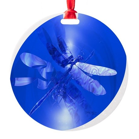 dragonfly11clk8.jpg Round Ornament