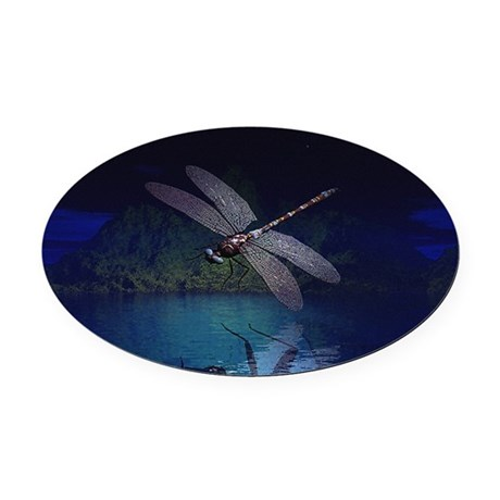 dragonfly10asq.jpg Oval Car Magnet