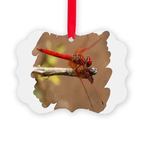 dragonflyred.png Picture Ornament