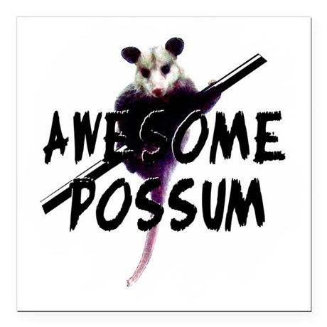 "Awesome Possum Square Car Magnet 3"" x 3"""