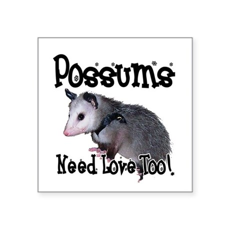 "possum34.png Square Sticker 3"" x 3"""
