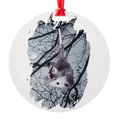 Possum Moonlight Round Ornament