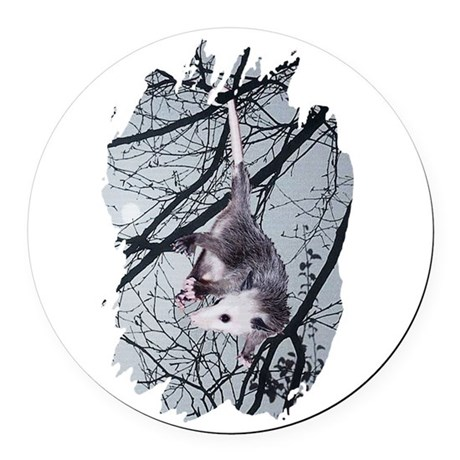 Possum Moonlight Round Car Magnet