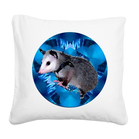 Blue Baby Possum Square Canvas Pillow