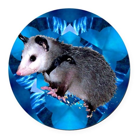 Blue Baby Possum Round Car Magnet