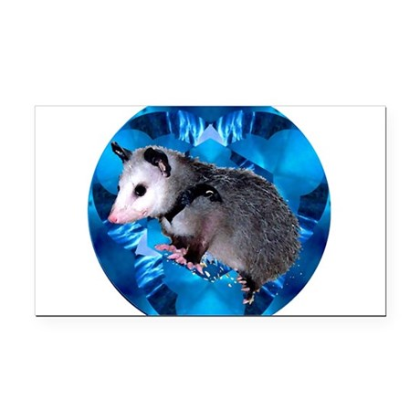 Blue Baby Possum Rectangle Car Magnet