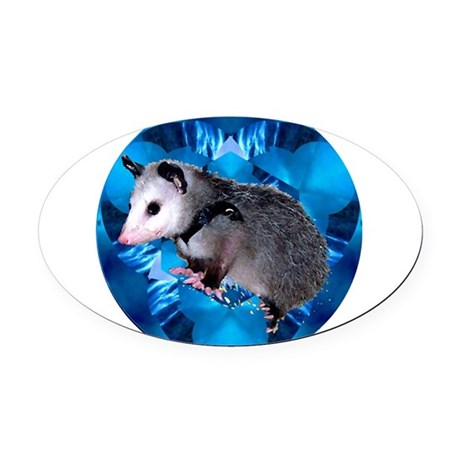 Blue Baby Possum Oval Car Magnet