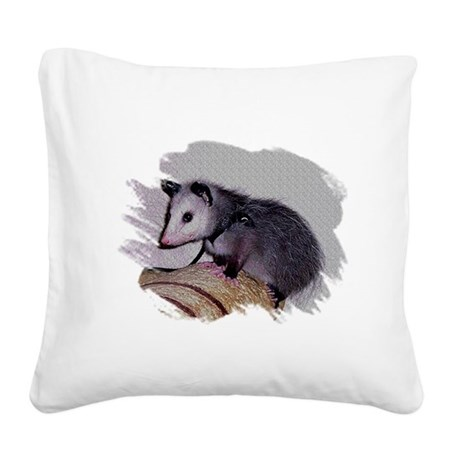 Baby Possum Square Canvas Pillow
