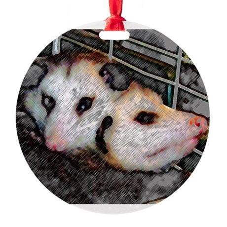 Two Opossums Round Ornament