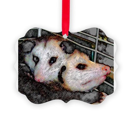 Two Opossums Picture Ornament