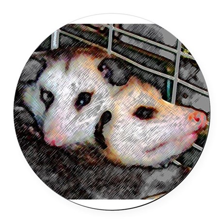 Two Opossums Round Car Magnet
