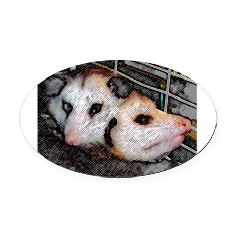 Two Opossums Oval Car Magnet