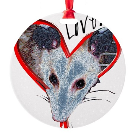 Possum Love Round Ornament