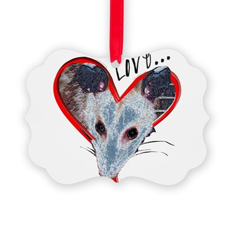 Possum Love Picture Ornament