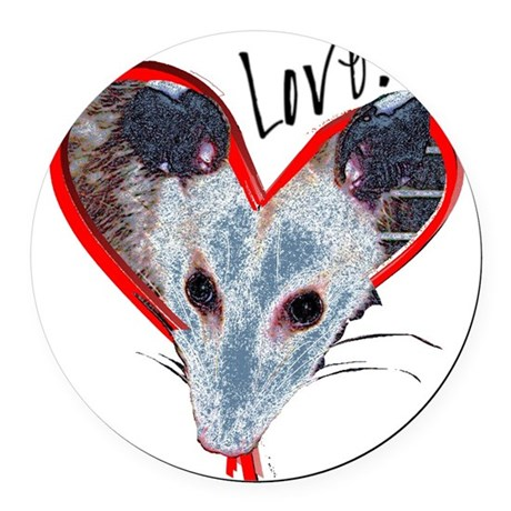Possum Love Round Car Magnet