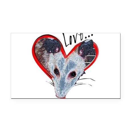 Possum Love Rectangle Car Magnet