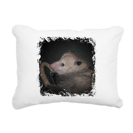 Sleepy Possum Rectangular Canvas Pillow