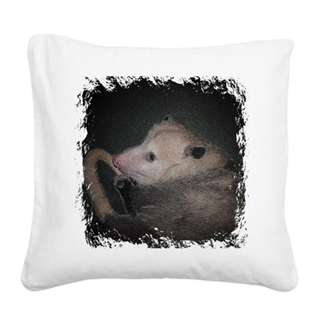 Sleepy Possum Square Canvas Pillow