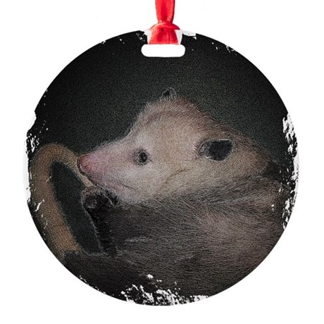 Sleepy Possum Round Ornament