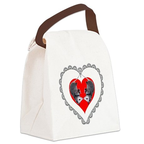 Possum Valentines Heart Canvas Lunch Bag