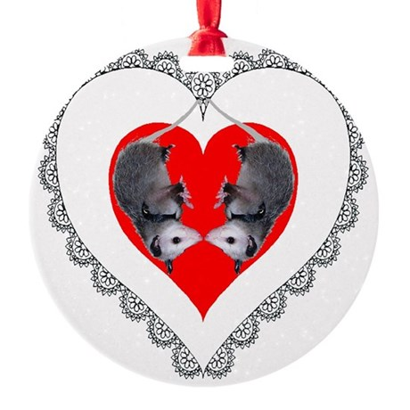 Possum Valentines Heart Round Ornament