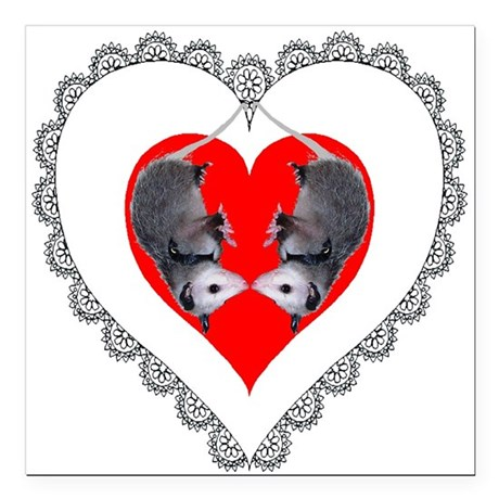 "Possum Valentines Heart Square Car Magnet 3"" x 3"""