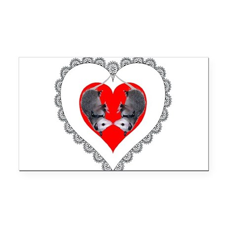 Possum Valentines Heart Rectangle Car Magnet