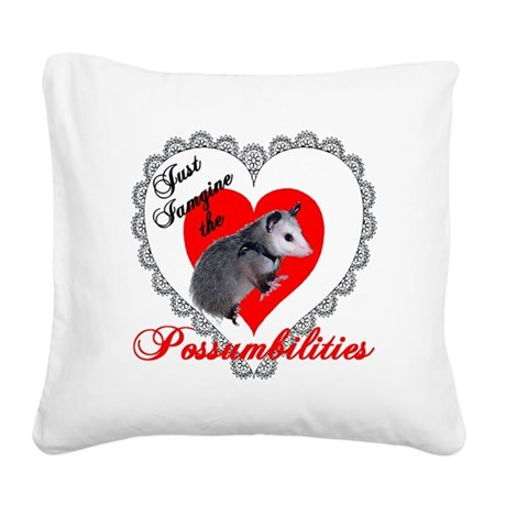 Possum Valentines Heart Square Canvas Pillow